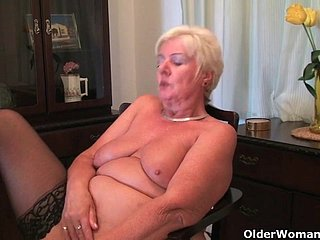 64 genre ancient with the addition of British granny Sandie rubs her ancient pussy
