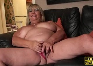 Broad in the beam british grandma masturbating